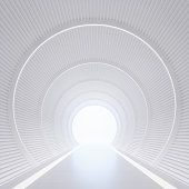 Modern white interior with tunnel space 3d rendering image.White curved corridor There is light at the destination.