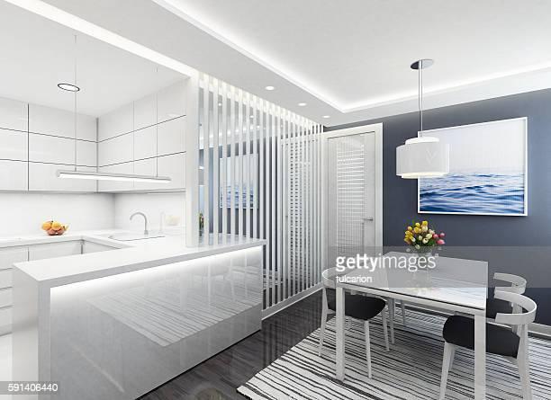 Modern white kitchen & dining room