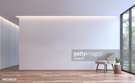 Modern white living minimal style 3d rendering image : Stock Photo