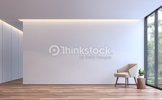 Modern white living minimal style 3d rendering image : Stock Photo
