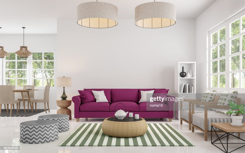 Modern White Living Room And Dining Room 3d Rendering Image : Stock Photo