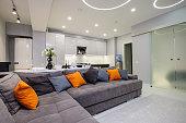 Modern designer white studio apartment interior, kitchen and living room toghether