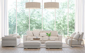 Modern white  living room in the forest 3d rendering image.There is a large sofa set, wooden floors and large glass windows. Can look out to see the beautiful nature.