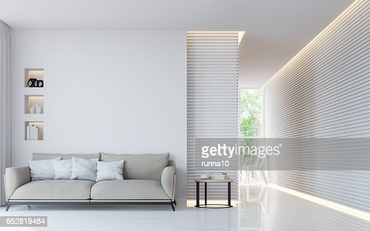 Modern white living room interior 3d rendering image : Stock Photo