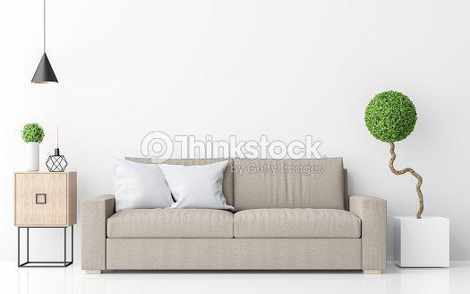 Modern White Living Room Interior Minimalist Style Image 3d ...