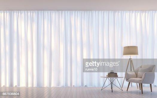 Modern white living room minimal style 3D rendering Image : Stock Photo