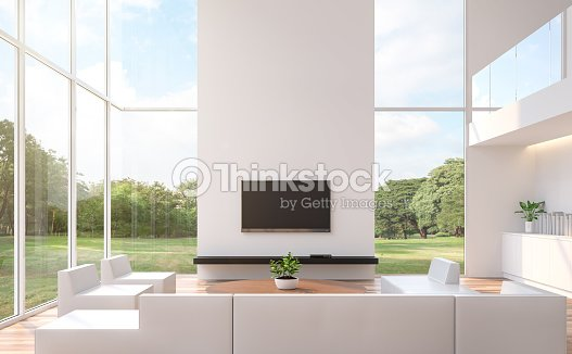 modern white living room with nature view 3d rendering image foto de