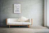 Modern white sofa in a living room