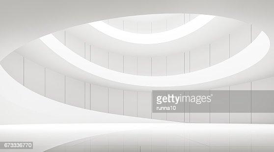 intérieur moderne des espaces blancs avec l'image de rendu 3d spirale rampe : Photo