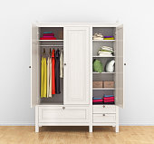 modern wooden wardrobe with clothes hanging on the rail. 3d illustration