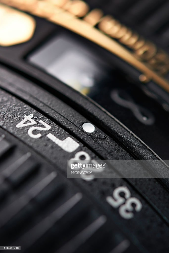 Modern zoom camera lens closeup : Stock Photo