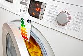 Moderne Waschmaschine mit Ökolabel, das die Effizienzklasse A zeigt.