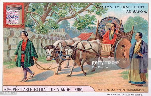 Modes of transport in Japan convey of a Buddhist priest 19th century French advertising for Liebig Extract of Meat Private Collection
