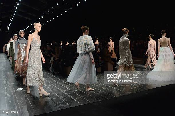Modesl walk the runway during the Valentino show as part of the Paris Fashion Week Womenswear Fall/Winter 2016/2017 on March 8 2016 in Paris France