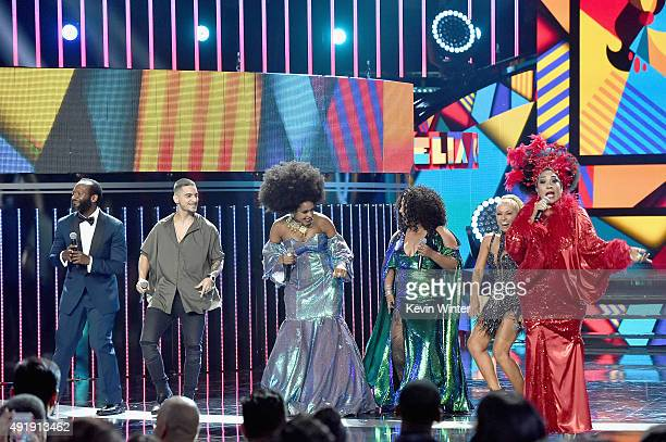 Modesto Lacen Maluma Jeimy Osorio La India Yuri and Aymee Nuviola perform onstage during Telemundo's Latin American Music Awards at the Dolby Theatre...