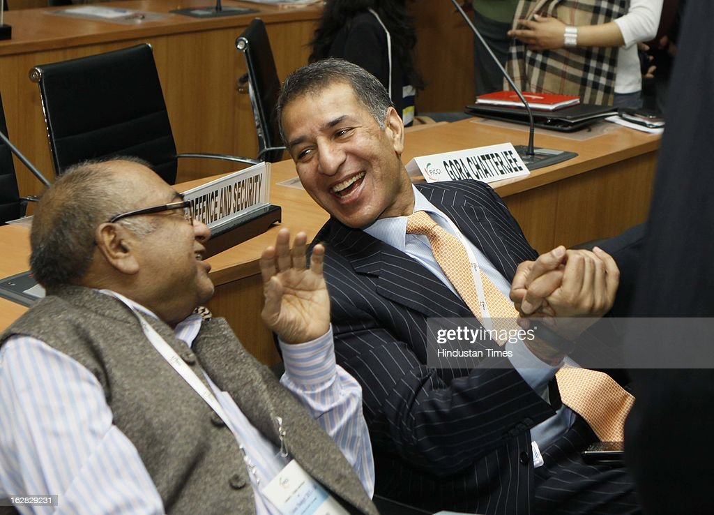 KK Modi and Rajan Bharti Mittal during Industry - Media Interface on Union Budget Session 2013-14 at Federation House, FICCI on February 28, 2013 in New Delhi, India. India Inc gave a thumbs up to the UPA-II's last Union Budget before the general elections next year.