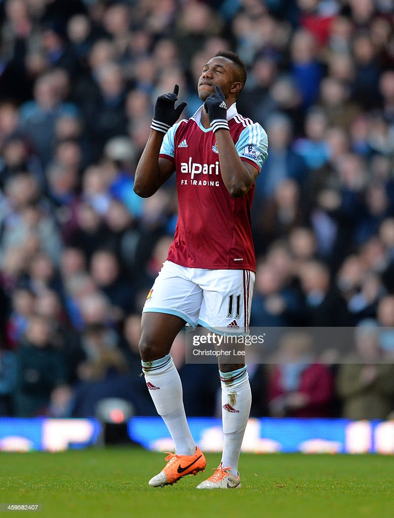 Modibo Maiga of West Ham celebrates scoring their second goal during the Barclays Premier League match between West Ham United and West Bromwich Albion at Boleyn Ground on December 28, 2013 in London, England.
