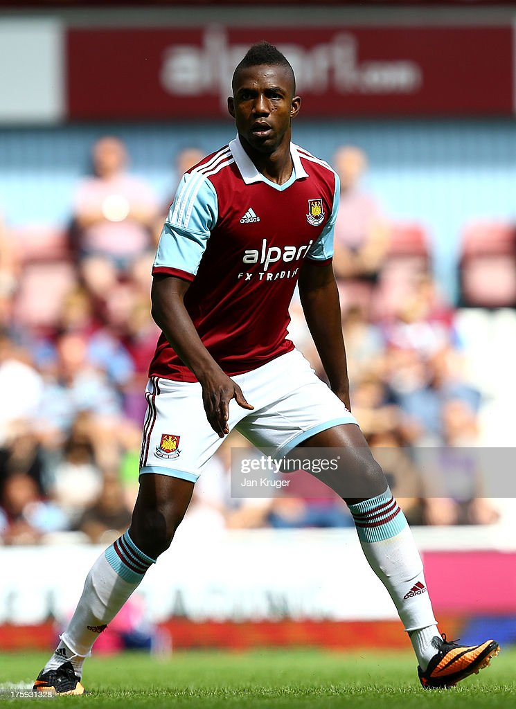 Modibo Maiga of West Ham looks on during the Pre Season Friendly match between West Ham United and Pacos de Ferreira at the Boleyn Ground on August 10, 2013 in London, England.