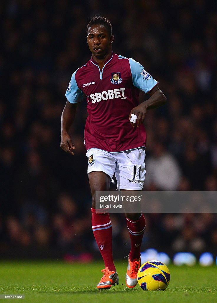 Modibo Maiga of West Ham United in action during the Barclays Premier League match between West Ham United and Stoke City at the Boleyn Ground on November 19, 2012 in London, England.