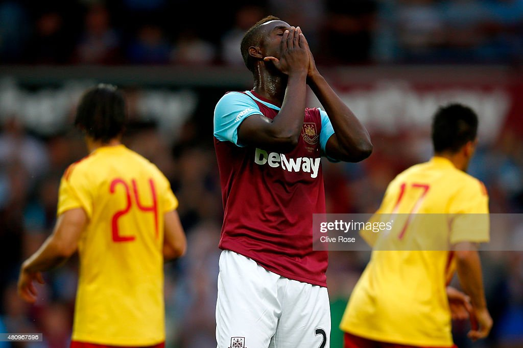 Modibo Maiga of West Ham United reacts after a missed chance during the UEFA Europa League second qualifying round (first leg) match between West Ham and FC Birkirkara at the Boleyn Ground on July 16, 2015 in London, England.