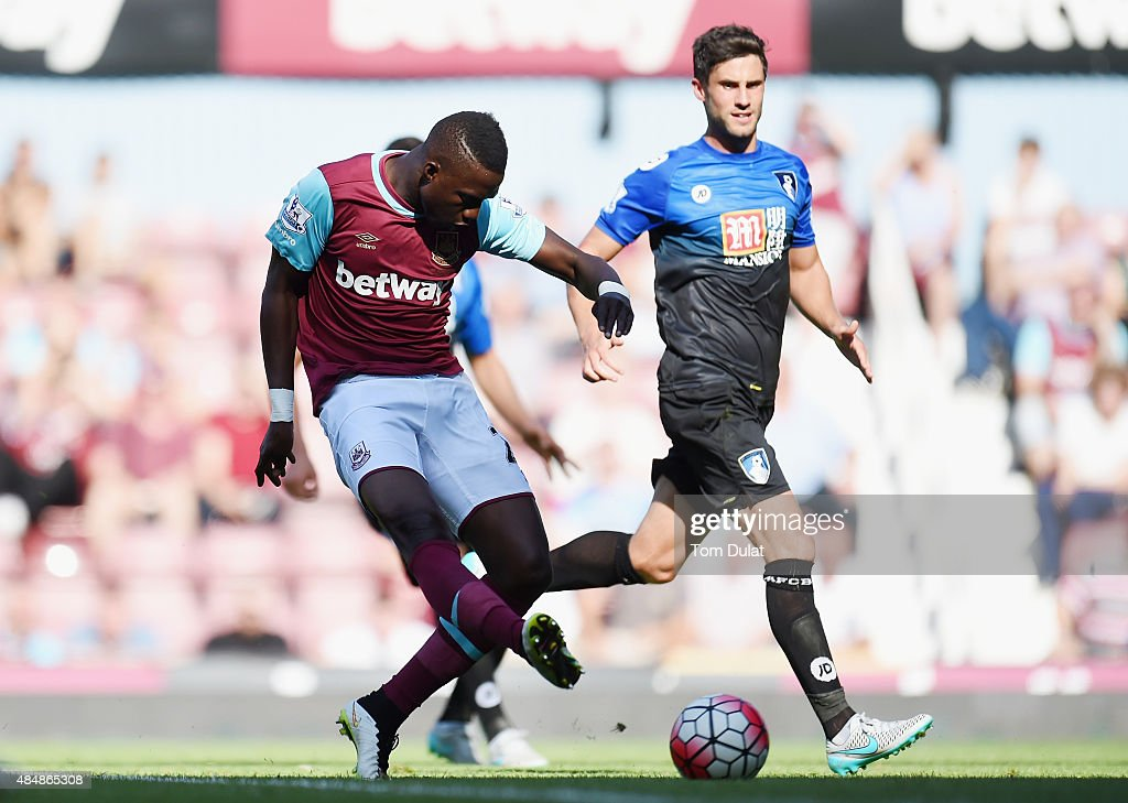 Modibo Maiga of West Ham United scores his team's third goal during the Barclays Premier League match between West Ham United and A.F.C. Bournemouth at the Boleyn Ground on August 22, 2015 in London, England.