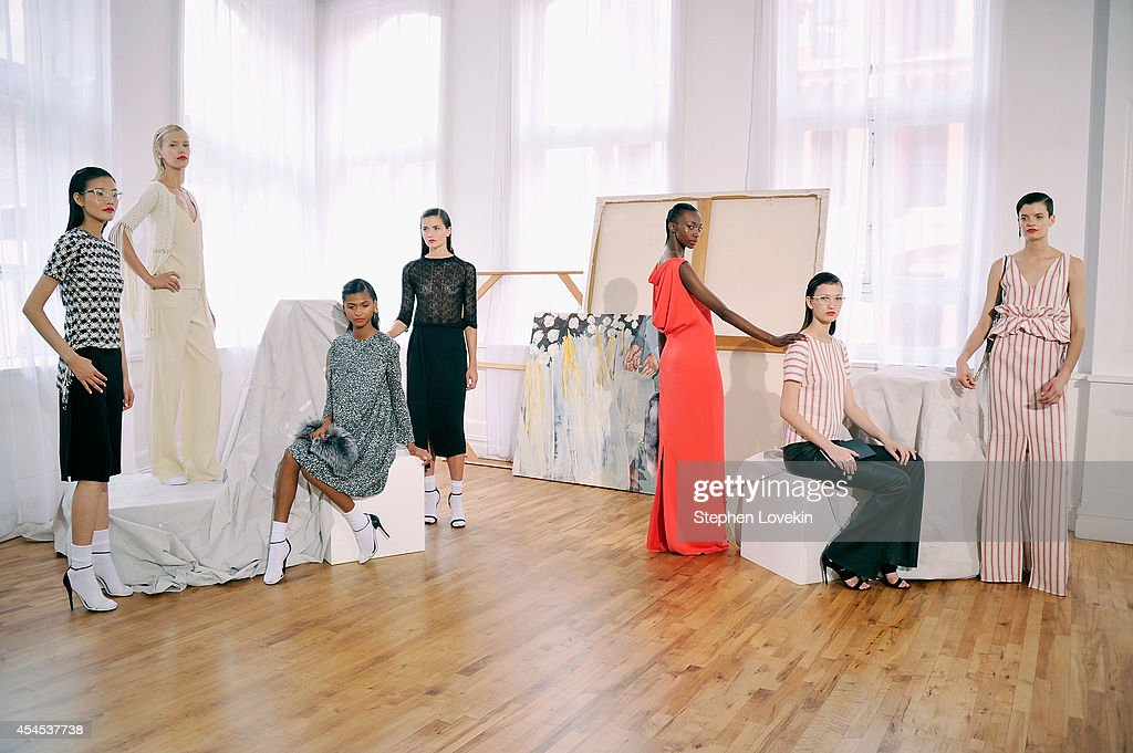 Modles pose at the Hellessy By Sylvie Millstein presentation during Mercedes-Benz Fashion Week Spring 2015 at Home Studios on September 3, 2014 in New York City.