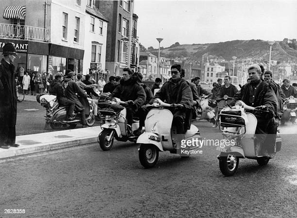 Mods at Hastings with their scooters