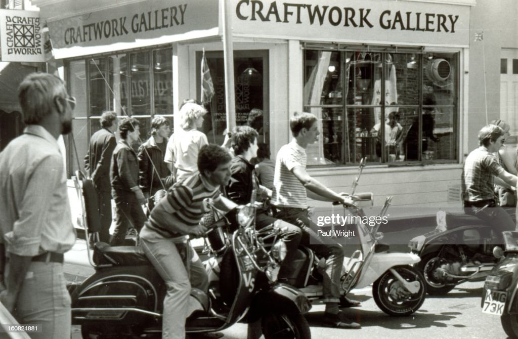 CONTENT] Mods on scooters in the Carnaby Street area of London being filmed for 'Steppin' Out', summer 1979.