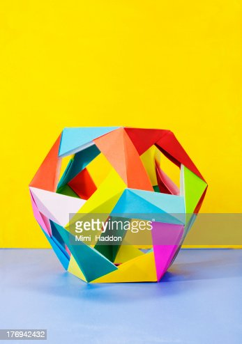 Modular Origami Sculpture on Colorful Background