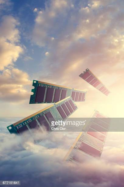 RAM modules floating above clouds