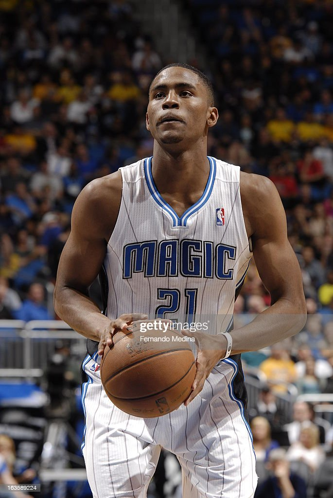 Moe Harkless #21 of the Los Angeles Lakers shoots a foul shot against the Orlando Magic during the game on March 12, 2013 at Amway Center in Orlando, Florida.