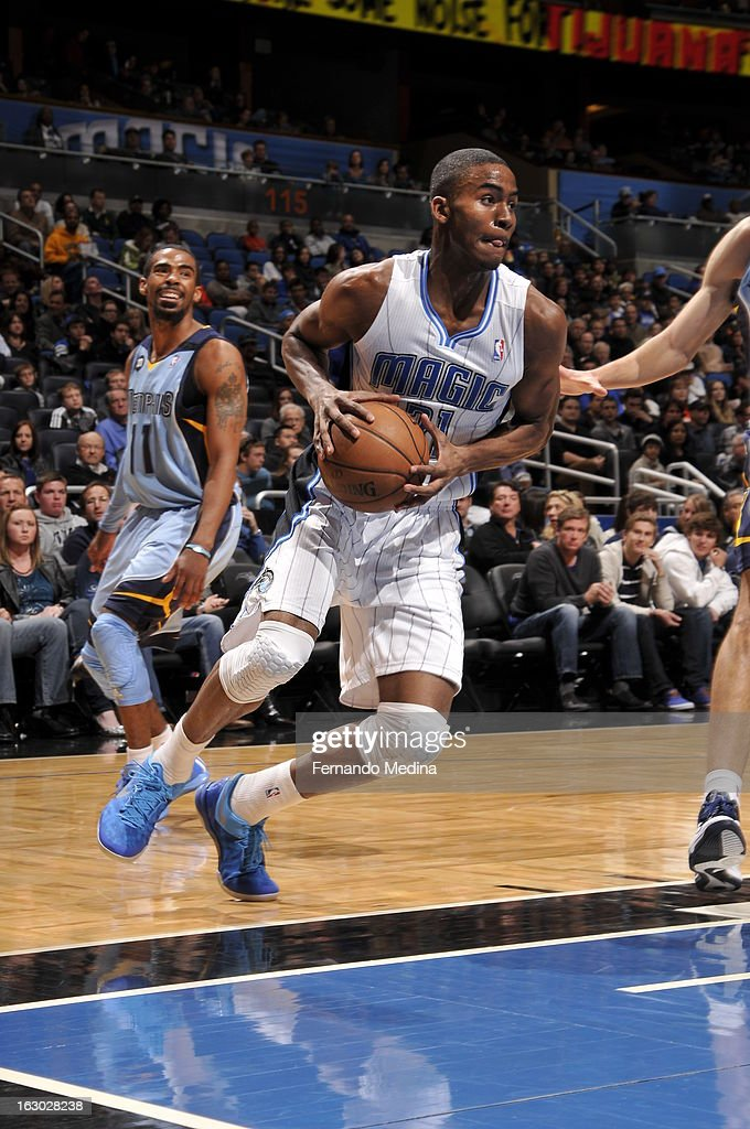 Moe Harkless #21 of the Orlando Magic drives to the basket against the Memphis Grizzlies on March 3, 2013 at Amway Center in Orlando, Florida.