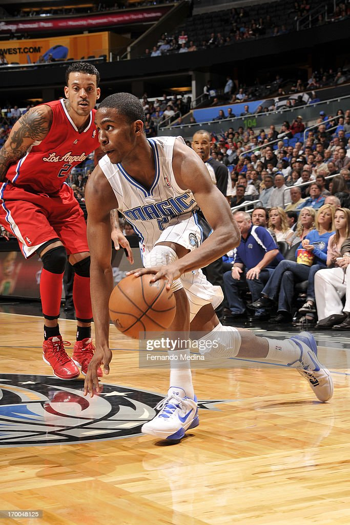 <a gi-track='captionPersonalityLinkClicked' href=/galleries/search?phrase=Moe+Harkless&family=editorial&specificpeople=8653497 ng-click='$event.stopPropagation()'>Moe Harkless</a> #21 of the Orlando Magic drives to the basket against the Los Angeles Clippers on February 6, 2013 at Amway Center in Orlando, Florida.