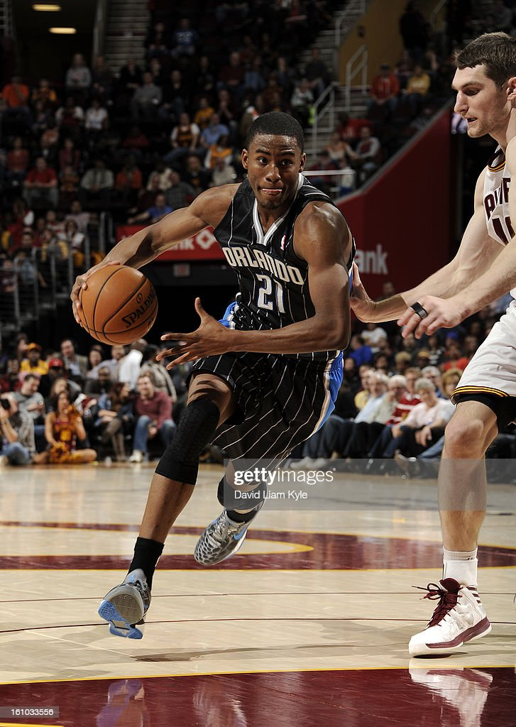 Moe Harkless #21 of the Orlando Magic drives to the hoop against Tyler Zeller #40 of the Cleveland Cavaliers at The Quicken Loans Arena on February 8, 2013 in Cleveland, Ohio.