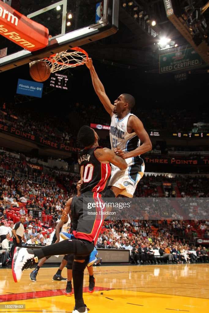 Moe Harkless #21 of the Orlando Magic dunks the ball during the game between the Orlando Magic and the Miami Heat on March 6, 2013 at American Airlines Arena in Miami, Florida.