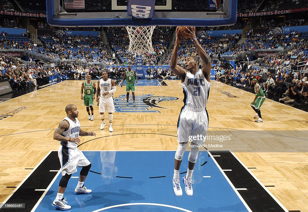 <a gi-track='captionPersonalityLinkClicked' href=/galleries/search?phrase=Moe+Harkless&family=editorial&specificpeople=8653497 ng-click='$event.stopPropagation()'>Moe Harkless</a> #21 of the Orlando Magic goes to the basket during the game between the Boston Celtics and the Orlando Magic on November 25, 2012 at Amway Center in Orlando, Florida.