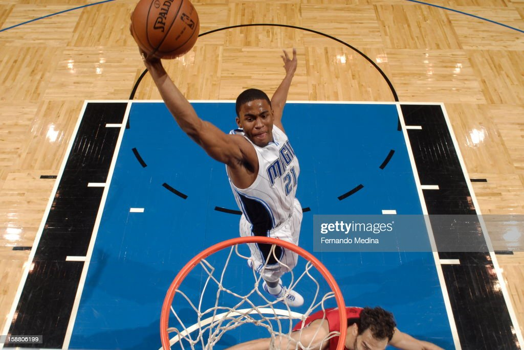 <a gi-track='captionPersonalityLinkClicked' href=/galleries/search?phrase=Moe+Harkless&family=editorial&specificpeople=8653497 ng-click='$event.stopPropagation()'>Moe Harkless</a> #21 of the Orlando Magic goes up for the dunk against the Toronto Raptors during the game on December 29, 2012 at Amway Center in Orlando, Florida.