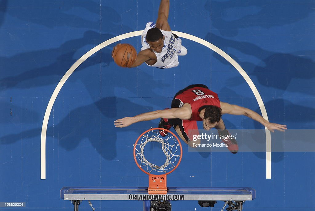 Moe Harkless #21 of the Orlando Magic goes up for the dunk against the Toronto Raptors during the game on December 29, 2012 at Amway Center in Orlando, Florida.