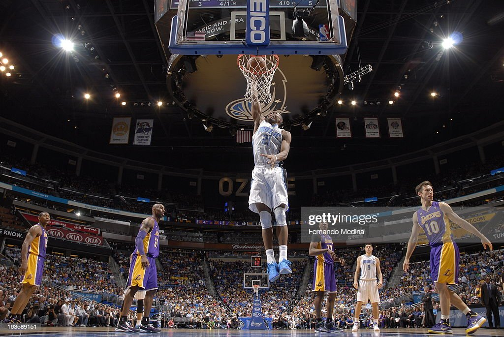 Moe Harkless #21 of the Orlando Magic goes up for the dunk against the Los Angeles Lakers during the game on March 12, 2013 at Amway Center in Orlando, Florida.