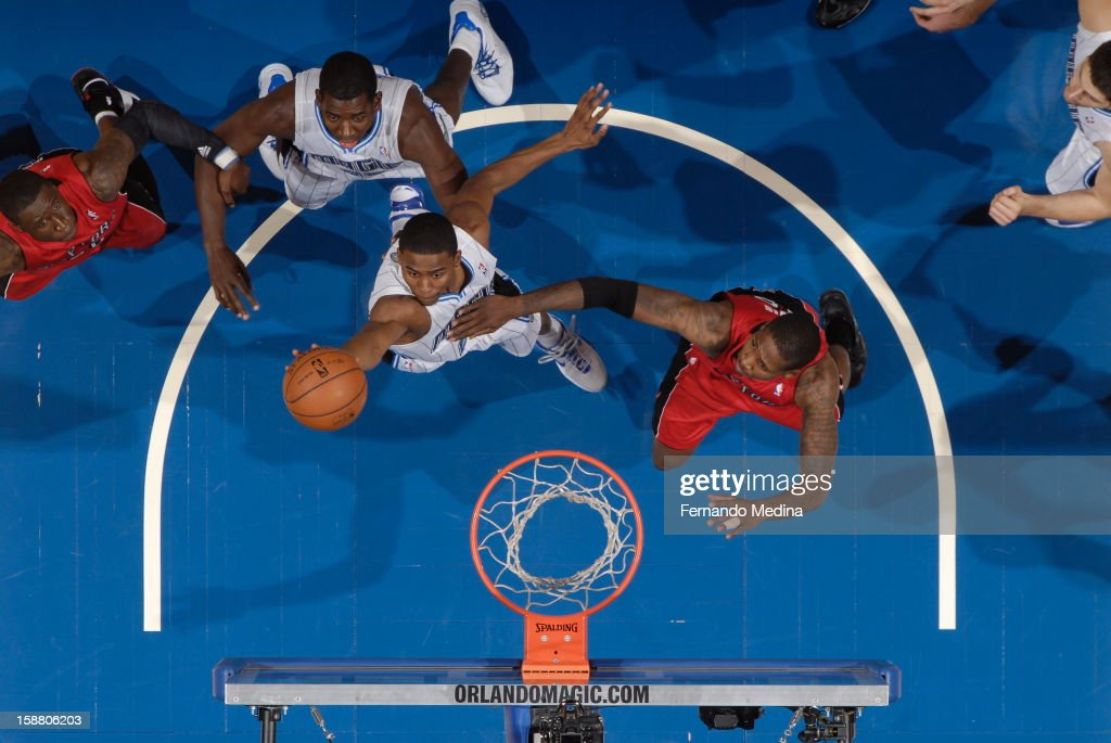 Moe Harkless #21 of the Orlando Magic goes up for the tip-in against the Toronto Raptors during the game on December 29, 2012 at Amway Center in Orlando, Florida.