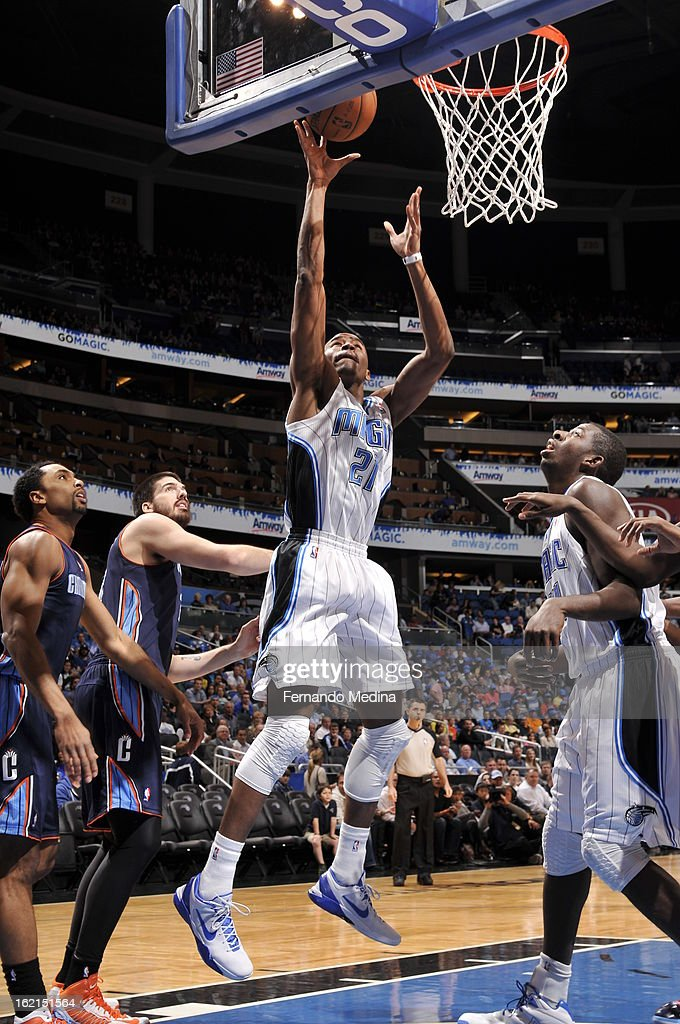 Moe Harkless #21 of the Orlando Magic goes up strong to the basket against the Charlotte Bobcats during the game on February 19, 2013 at Amway Center in Orlando, Florida.