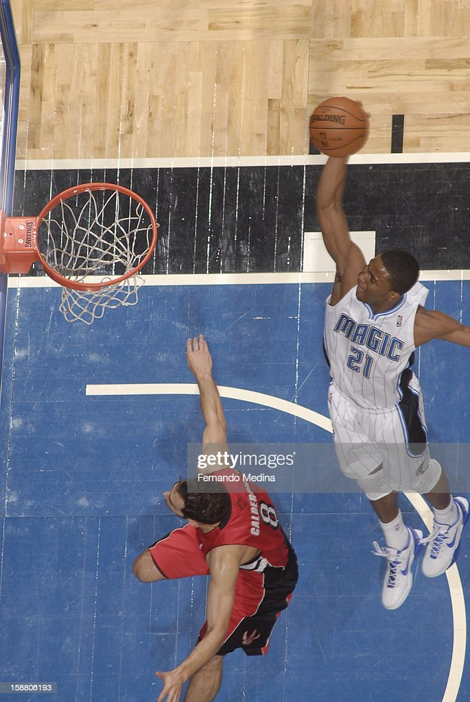 Moe Harkless #21 of the Orlando Magic goes up to flush the ball against the Toronto Raptors during the game on December 29, 2012 at Amway Center in Orlando, Florida.