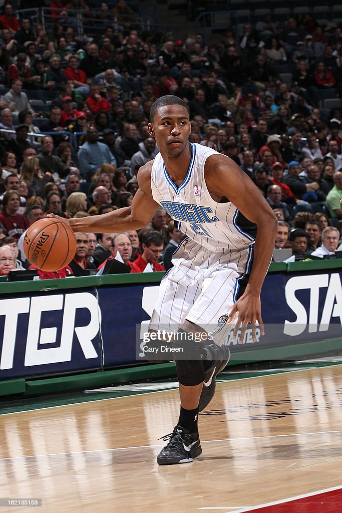 <a gi-track='captionPersonalityLinkClicked' href=/galleries/search?phrase=Moe+Harkless&family=editorial&specificpeople=8653497 ng-click='$event.stopPropagation()'>Moe Harkless</a> #21 of the Orlando Magic handles the ball against the Milwaukee Bucks on February 2, 2013 at the BMO Harris Bradley Center in Milwaukee, Wisconsin.