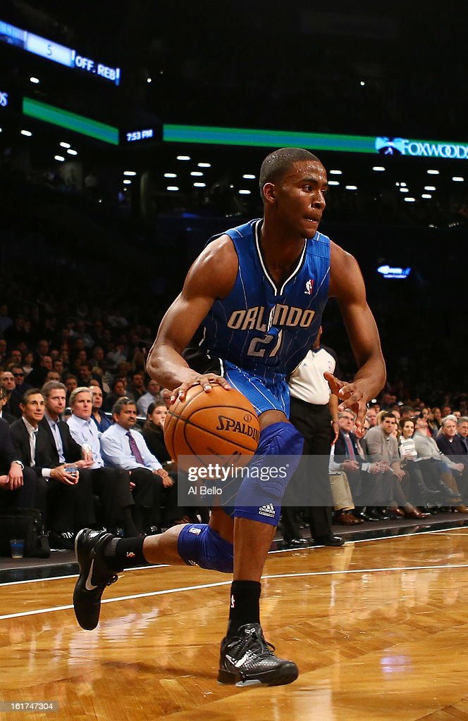 Moe Harkless #21 of the Orlando Magic in action against the Brooklyn Nets during their game at the Barclays Center on January 28, 2013 in the Brooklyn borough of New York City.