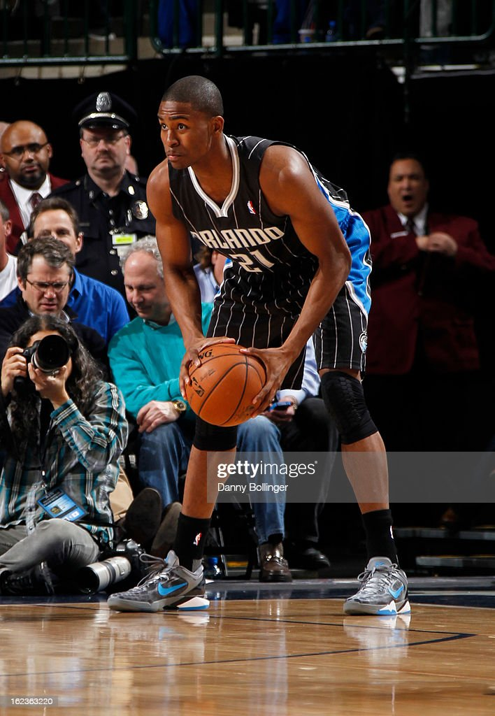 <a gi-track='captionPersonalityLinkClicked' href=/galleries/search?phrase=Moe+Harkless&family=editorial&specificpeople=8653497 ng-click='$event.stopPropagation()'>Moe Harkless</a> #21 of the Orlando Magic looks to drive to the basket against the Dallas Mavericks on February 20, 2013 at the American Airlines Center in Dallas, Texas.