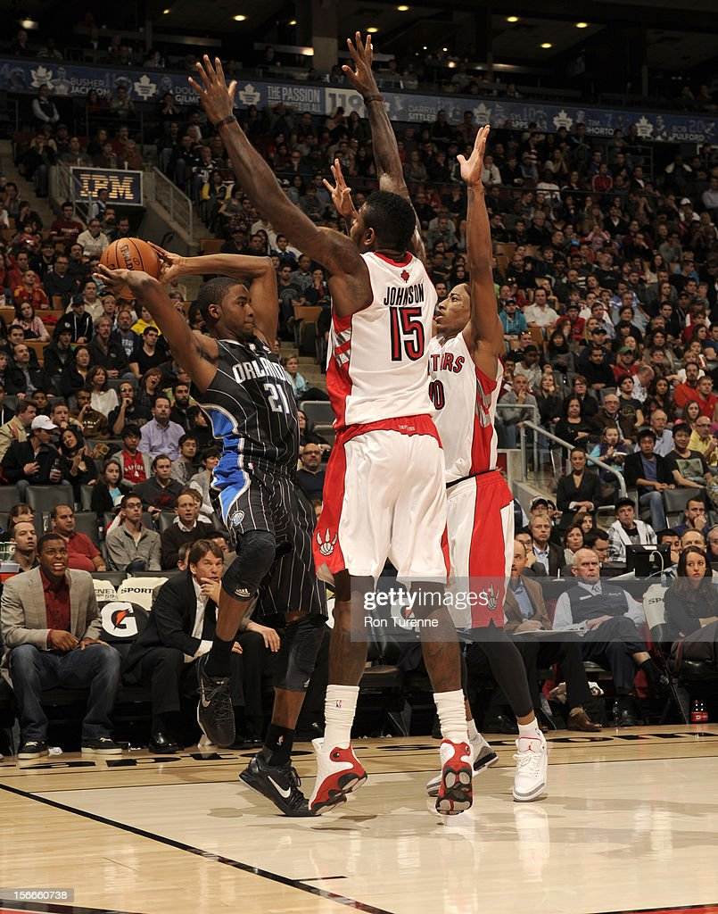 Moe Harkless #21 of the Orlando Magic looks to pass the ball vs the Toronto Raptors during the game on November 18, 2012 at the Air Canada Centre in Toronto, Ontario, Canada.