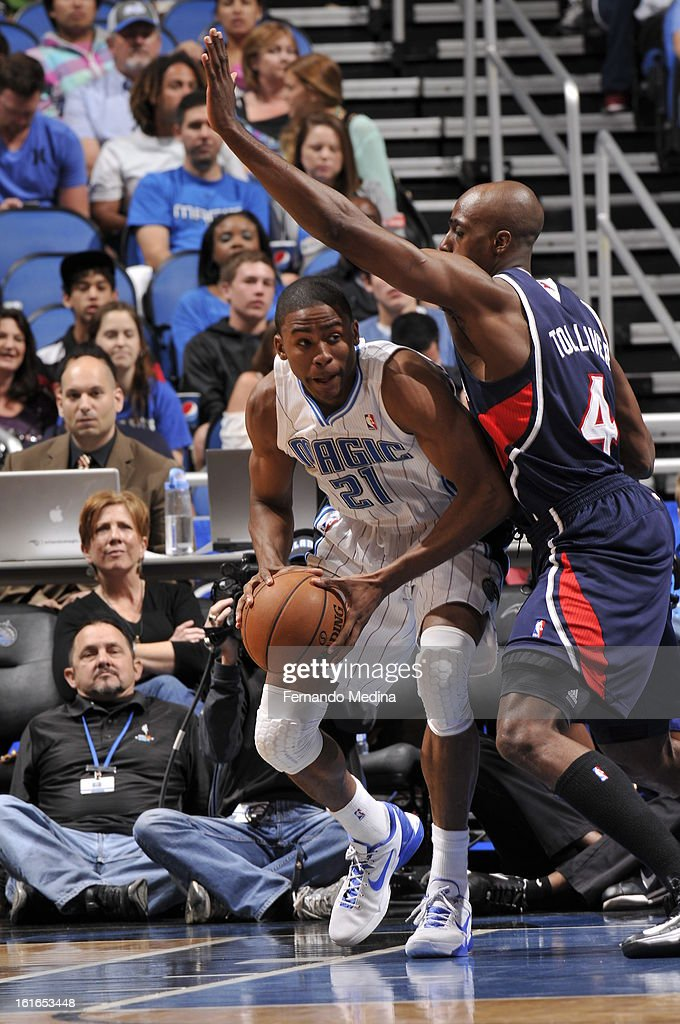 Moe Harkless #21 of the Orlando Magic passes the ball against the Atlanta Hawks during the game on February 13, 2013 at Amway Center in Orlando, Florida.