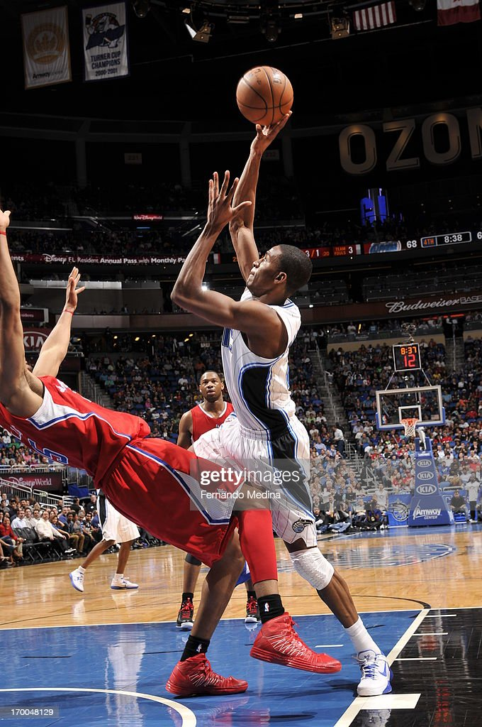 <a gi-track='captionPersonalityLinkClicked' href=/galleries/search?phrase=Moe+Harkless&family=editorial&specificpeople=8653497 ng-click='$event.stopPropagation()'>Moe Harkless</a> #21 of the Orlando Magic shoots against the Los Angeles Clippers on February 6, 2013 at Amway Center in Orlando, Florida.