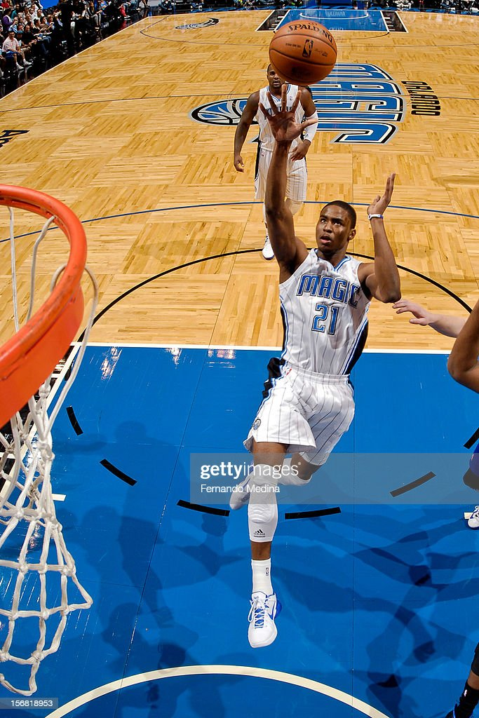 <a gi-track='captionPersonalityLinkClicked' href=/galleries/search?phrase=Moe+Harkless&family=editorial&specificpeople=8653497 ng-click='$event.stopPropagation()'>Moe Harkless</a> #21 of the Orlando Magic shoots in the lane against the Detroit Pistons on November 21, 2012 at Amway Center in Orlando, Florida.
