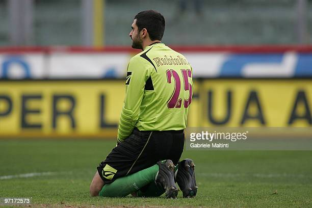Moedim RF Rubinho goalkeeper of AS Livorno Calcio shows his dejection during the Serie A match between Livorno and Siena at Stadio Armando Picchi on...